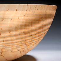 Birch bowl with lined texture
