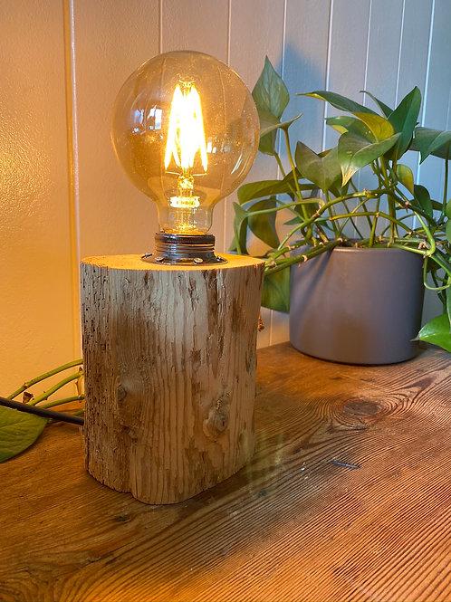 Edison Nachttischlampe aus Altholz Silber