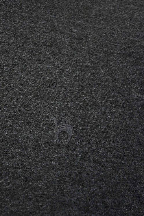 T-Shirt Rundhals aus Bio-Baumwolle und Royal-Alpaka anthrazit
