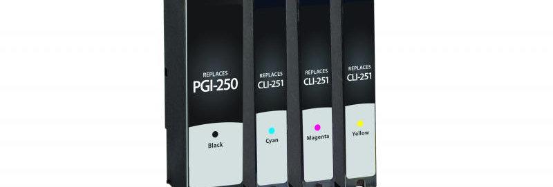 Black, Ink Cartridges for Canon PGI-250/CLI-251 4-Pack