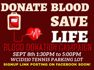 Blood Drive Sept, 8th