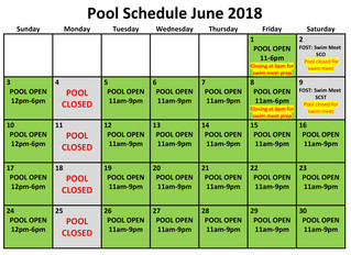 June 2018 Pool Schedule
