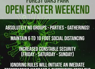 FOREST OAKS PARK & EASTER WEEKEND