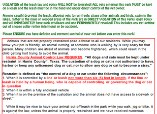 Park Leash Policy UPDATE