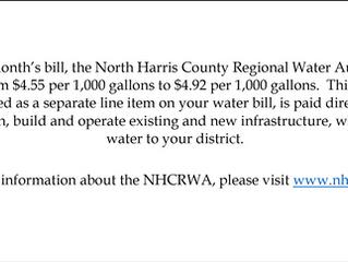 North Harris Regional Water Authority Rate Increase