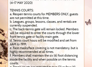 Tennis courts are now open from 6AM to 7PM
