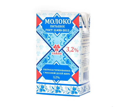 """Молоко """"Тяжин"""" 3,2% жирности ультрапастеризованное 1,0 литр"""