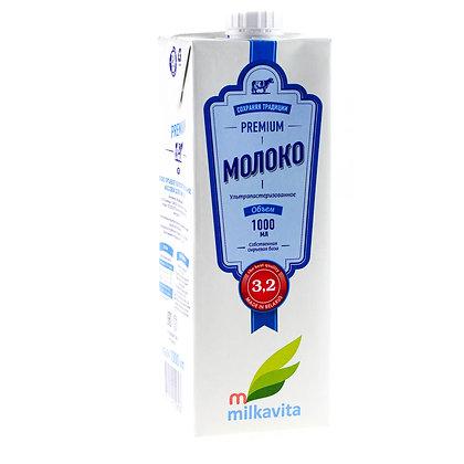 """Молоко ТМ """"Милкавита"""" 3,2% жирности ультрапастеризованное 1,0 литр"""