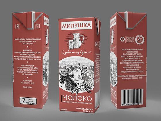 "Молоко ""Милушка"" 3,2% жирности ультрапастеризованное 200 мл"