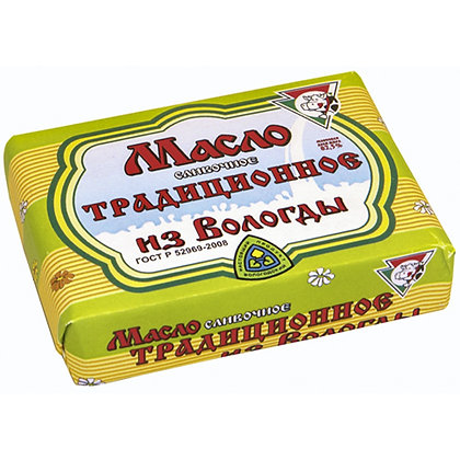 """Масло сливочное 82,5% традиционное ТМ """"Из Вологды"""" 180 грамм"""