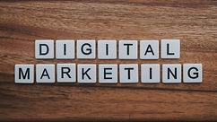 digital marketing artwork on brown woode