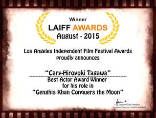 Congrats to Cary-Hiroyuki Tagawa winning Best Actor at the LAIFF Awards last night! 
