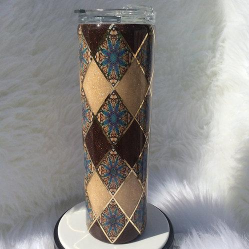 Brown Beige Argyle Thermal Tumbler