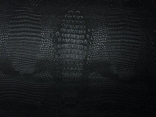 Vegan Leather Fabric - Black Crocodile