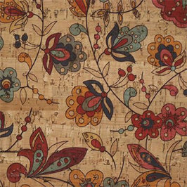Cork Fabric - Funky Flowers