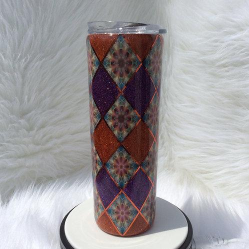 Purple Autumn Argyle Thermal Tumbler