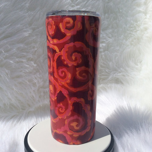 Kaffe Fassett Red Orange Thermal Tumbler