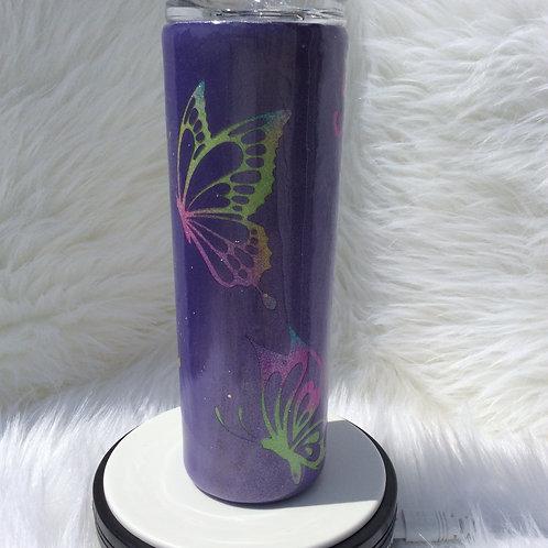Butterflies Purple Thermal Tumbler