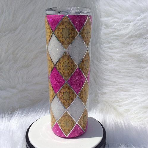 Pink White Argyle Thermal Tumbler