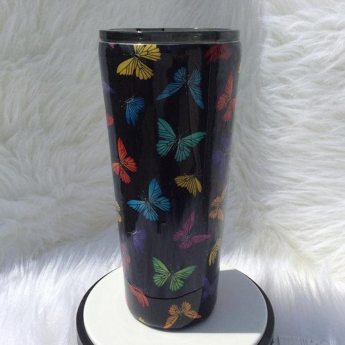 Butterflies Black Thermal Tumbler
