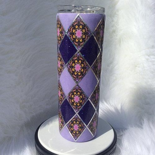 Purple Lavender Argyle Thermal Tumbler