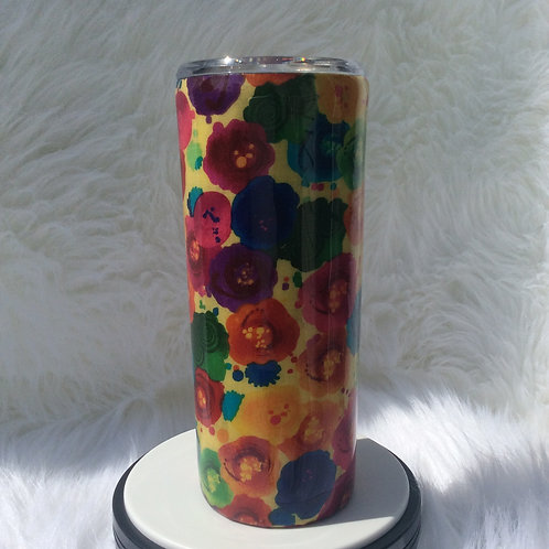 Yellow Floral Thermal Tumbler