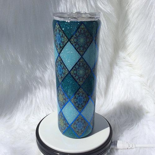 Teal Blue Argyle Thermal Tumbler