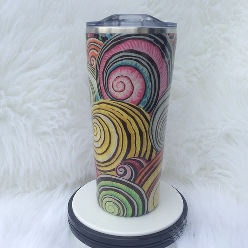 Jacobs for Kaffe Pink Grey Swirls Thermal Tumbler