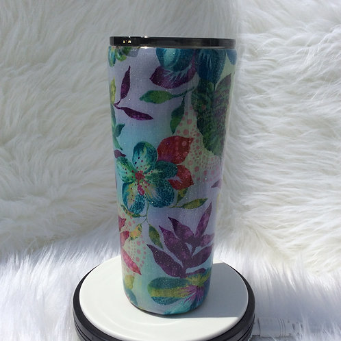 Kaffe Fassett Flowers Blue Thermal Tumbler