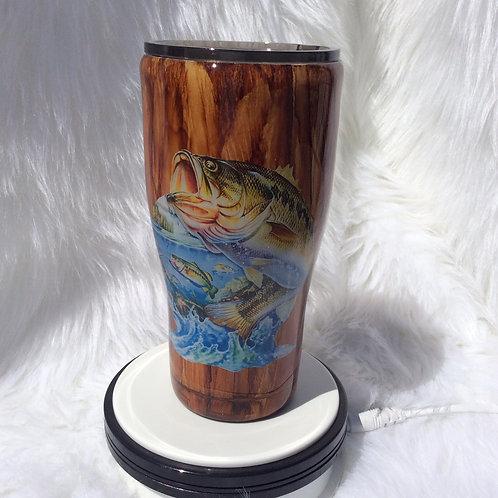 Wood-Grain Fish Thermal Tumbler