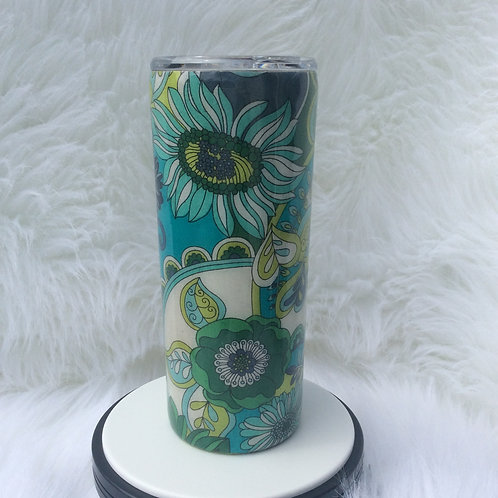 Blue Green Floral Thermal Tumbler