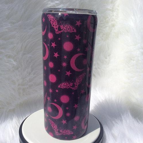 Tula Pink Batty Magenta Thermal Tumbler