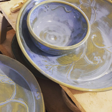 Blue Dishes with Slip Trailing