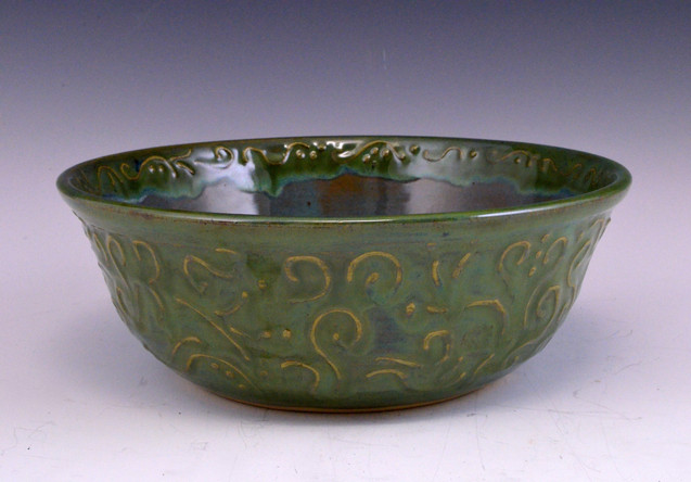 Green Bowl with Slip Trailing