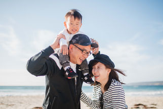Singapore family enjoying the Margaret River beach during a recent photography shoot with Dian Sarah photographer