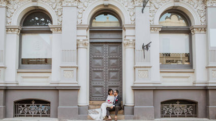 Beautiful couple and old building