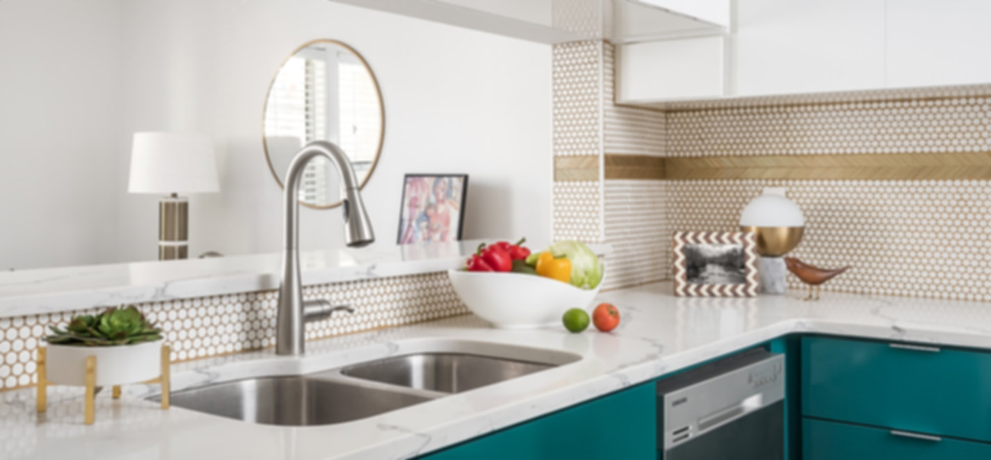 Colorful modern kitchen, kitchen designer, gold grout