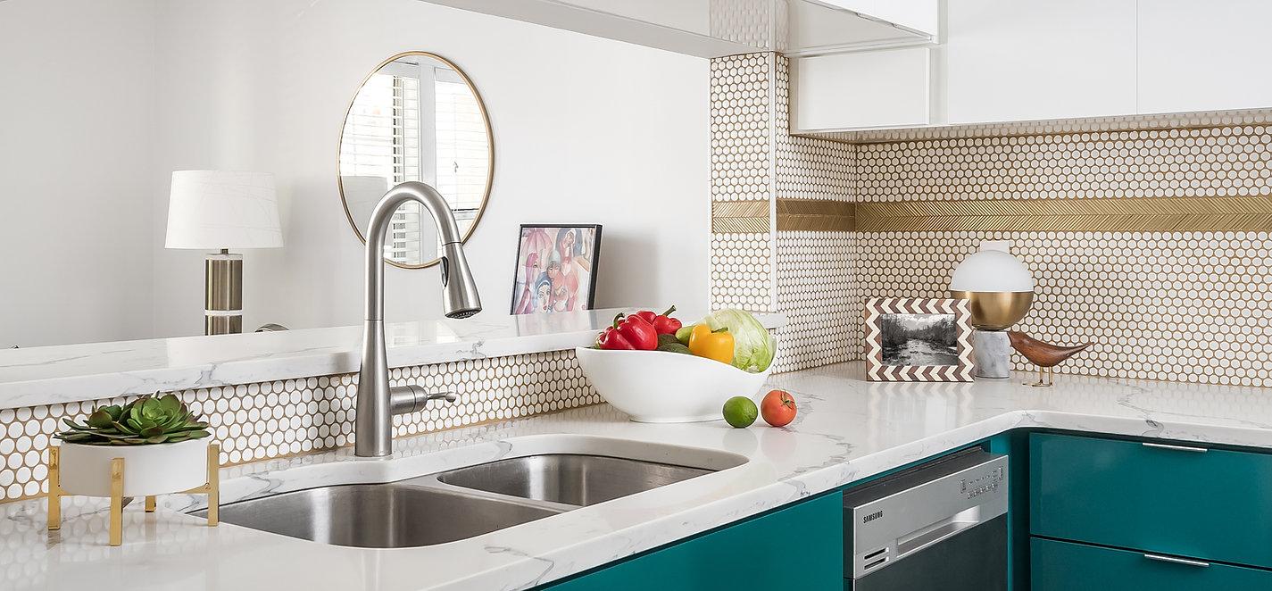 Colorful modern kitchen, kitchen designer, gold grout