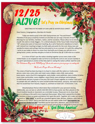 Christmas Letter To All; 12-25 Alive; Fr