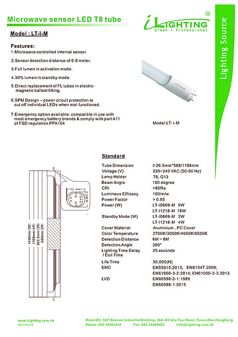 3. Microwae sensor LED T8 tube catalog 1