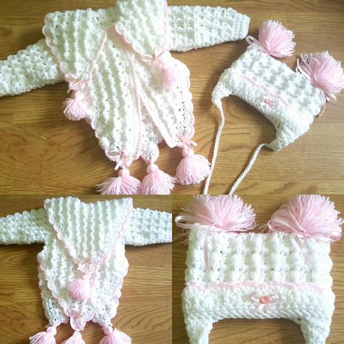Two piece crochet poncho set