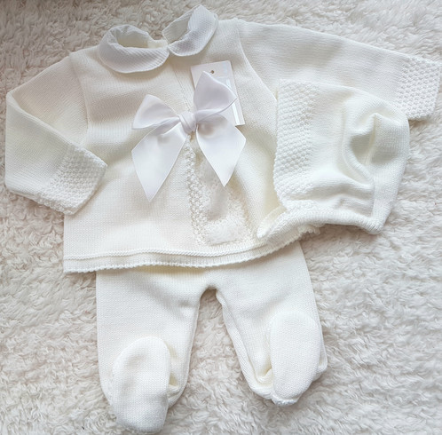 Newborn Knitted 3piece Set Baby Spanish Traditional Clothing
