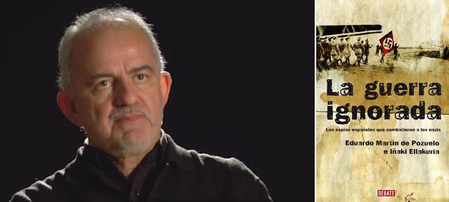 Eduardo Martín de Puzuelo, durante la entrevista, y portada del libro 'La guerra ignorada' , del que es autor, junto al también periodista de La Vanguardia Iñaki Ellakuría.