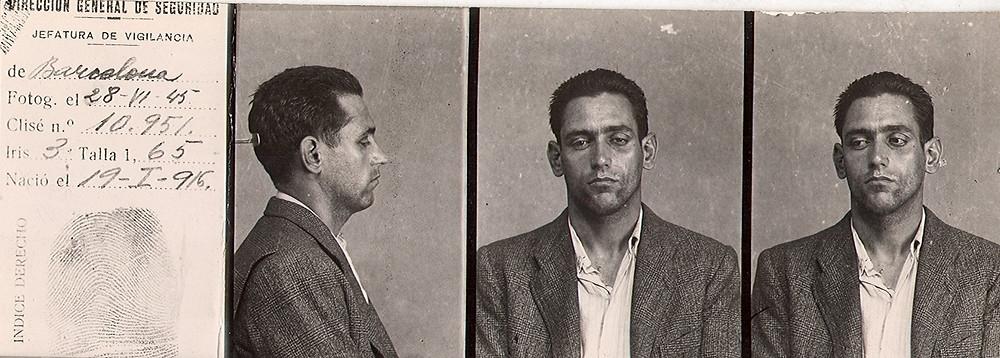 Ficha policial de Manuel Ramos tras su detención en Cataluña. Gentileza de Carlos J. Domíguez.