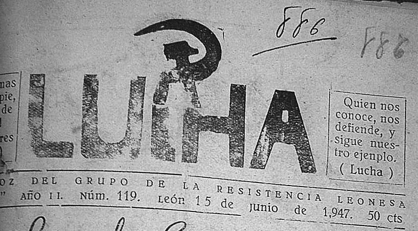 Periódico clandestino 'Lucha', editado por Ramos y distribuido por él mismo, lanzándolo por las calles de León en bicicleta.