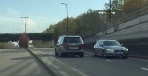 Astonishing footage shows TfL minicab heading wrong way down busy London dual carriageway