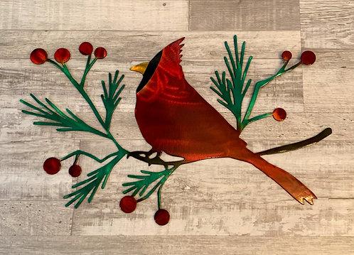 Cardinal on Pine Bough