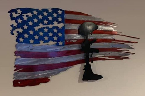 Tattered Flag w/ Soldier Memorial