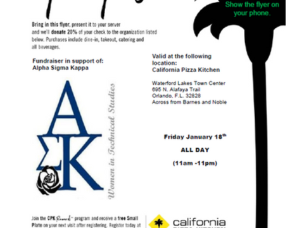 Pizza with a Purpose! Jan. 18 - California Pizza Kitchen Partial Proceeds