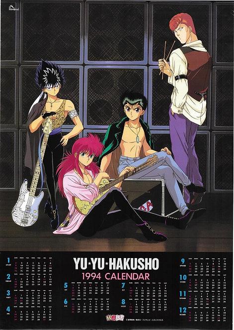 Original Yu Yu Hakusho Vintage Anime 1994 Calendar Poster